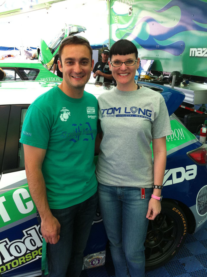 With Freedom Autosport Mazda driver Tom Long.