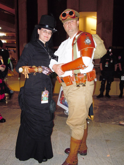 Steampunk Widow and a member of the British air defense!